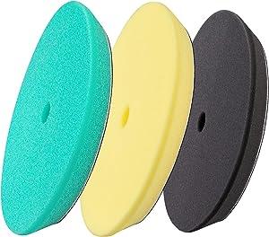 3pcs 5 inch Polishing Pads, Foam Buffing Pads Buffer Pads kit for Car, Polisher Pad Buffing Wheel for Sanding, Compounding, Polishing and Waxing, 6'' Sponge for 5'' Backing Plate