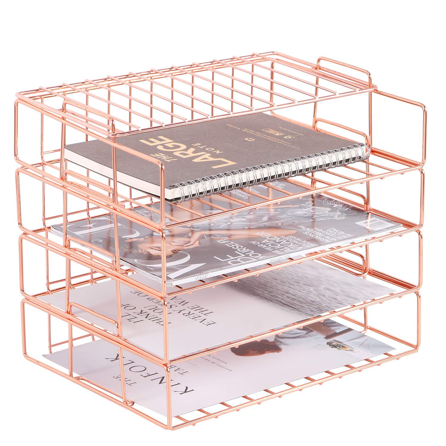 4 Tier Paper Organizer Tray Book and More Magazine Folder Wire Desk File Sorter Shelf for Mail Nugorise Stackable File Tray Document Rose Gold