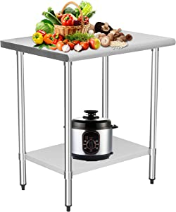 HOCCOT Stainless Steel Prep & Work Table with Adjustable Shelf, Kitchen Island with Storage, Commercial Workstations, Utility Table in Kitchen Garage Laundry Room Outdoor BBQ, 24