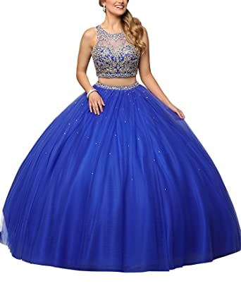 db8c208b216 Gold Embellished Prom Quinceanera Dresses 2 Piece Ball Gowns Hollow Party  Dress Tulle Royal Blue 2