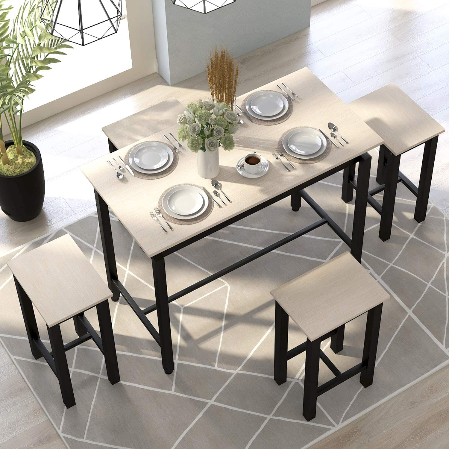 Dining Table Set, Hinpia 5 Piece Practical Dining Room Table Set with 4 Chairs, Counter and Pub Height, Perfect for Breakfast Nook, Kitchen Room, Mini Bar or Patio Beige