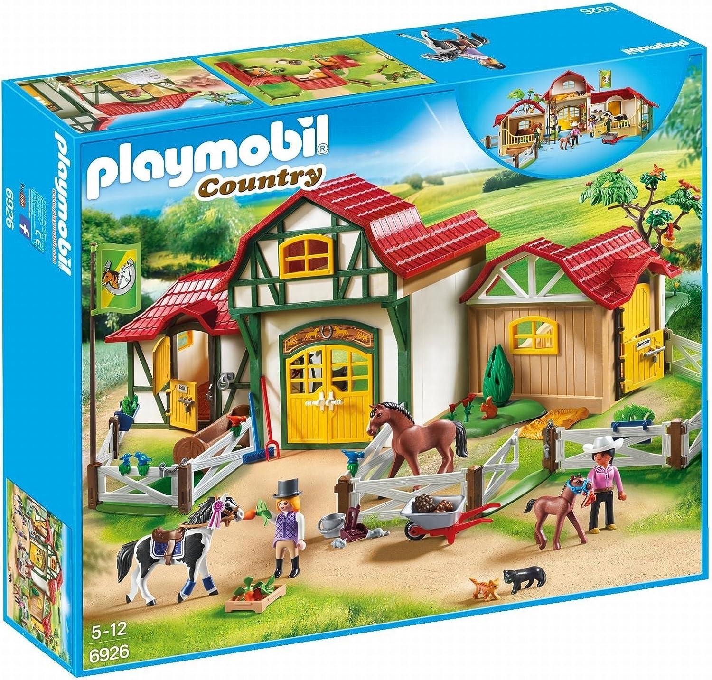 PLAYMOBIL Country Granja de Caballos con Tinker, Trakehner y su Potro, A partir de 5 años (6926) , color/modelo surtido