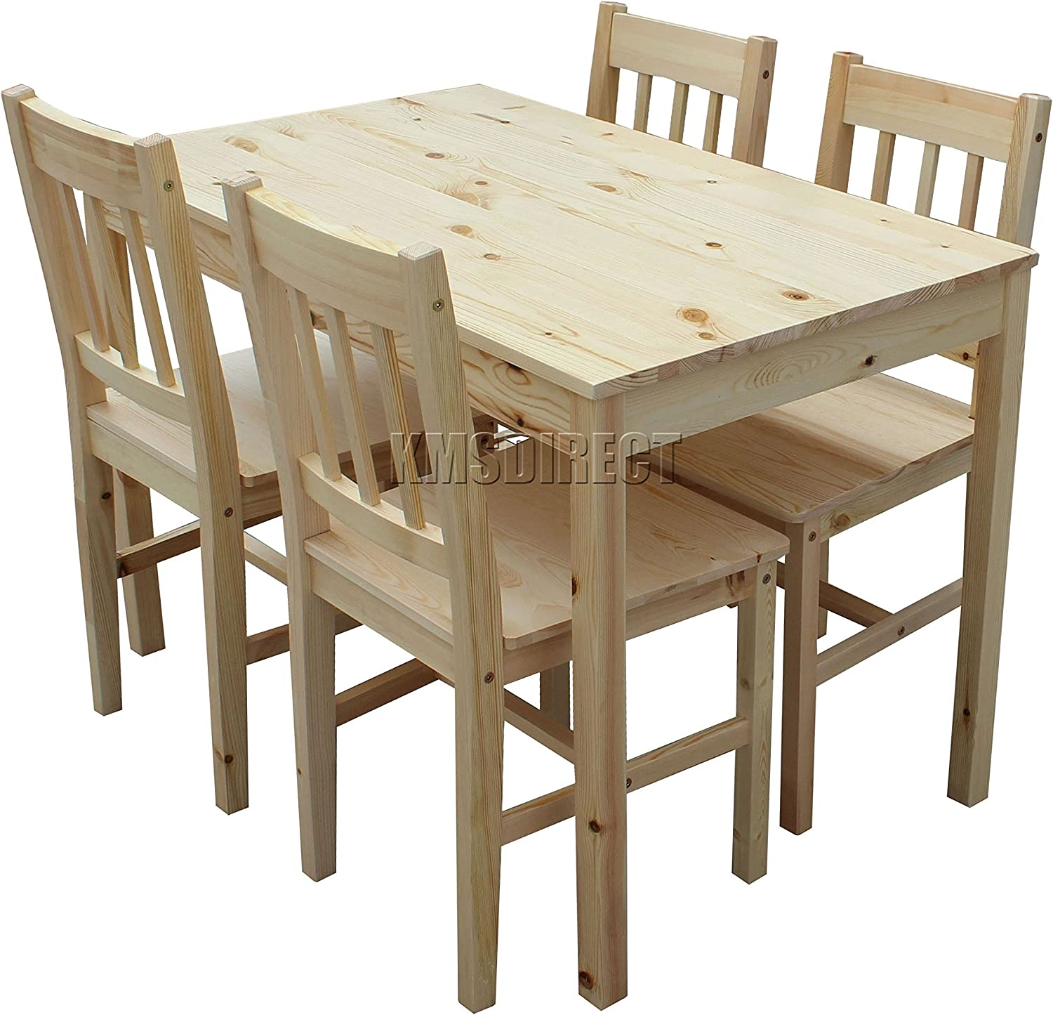 WestWood Quality Solid Wooden Dining Table and 4 Chairs Set Kitchen Furniture FH-DS02 Natural Pine