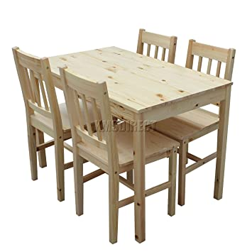Westwood Quality Solid Wooden Dining Table And 4 Chairs Set Kitchen