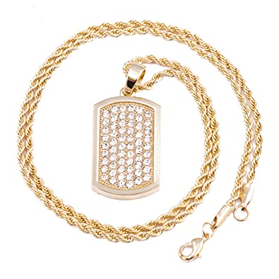Mens gold dog tag micro pendant iced out iron rope chain 3mm 24 mens gold dog tag micro pendant iced out iron rope chain 3mm 24quot hip hop aloadofball Choice Image