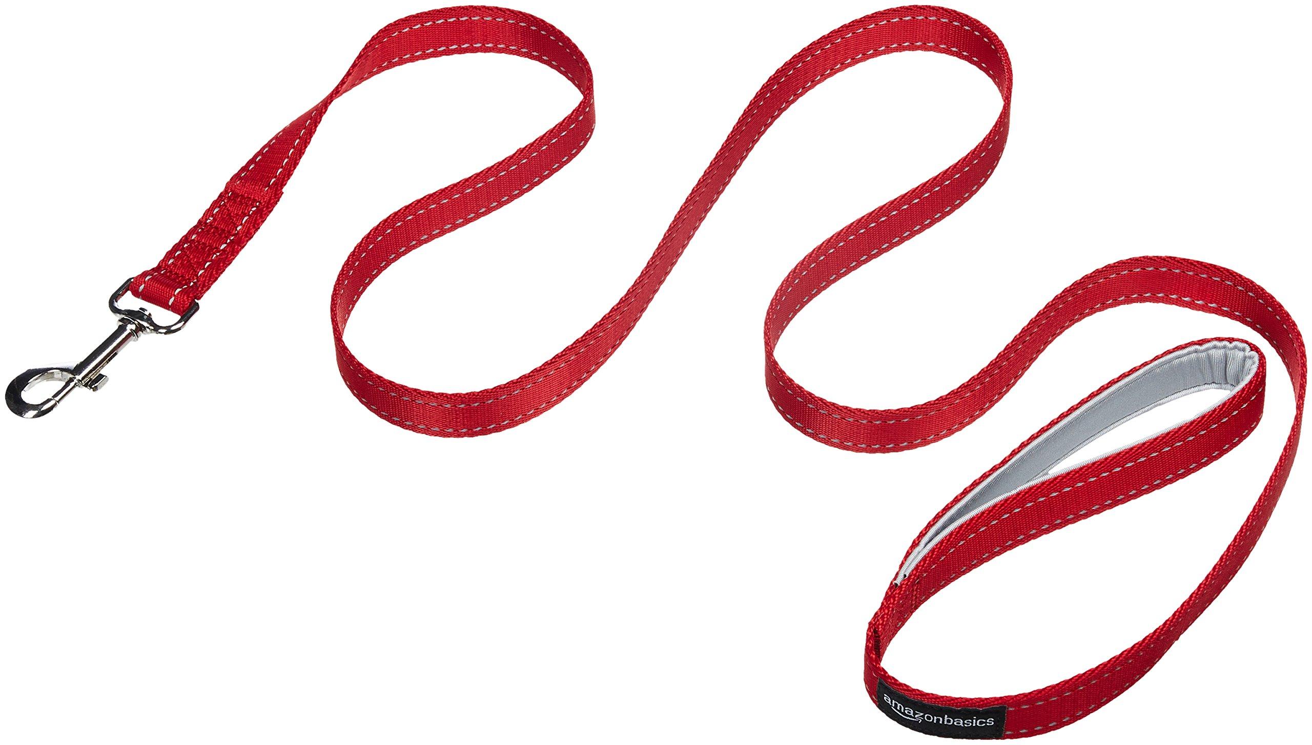 AmazonBasics Single Handle Light Reflecting Dog Leash, Red, 4 product image