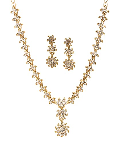 f3599fb6f5aec Bindhani Women's Bridal Wedding Jewellery Bollywood Bridesmaids Gold Plated  Rhinestone Austrian Crystal Party Wear Statement Indian Bride Necklace ...