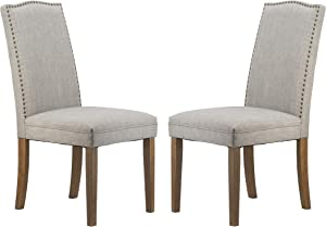 A&B Home Furniture Dining Chairs Urban Style with Nailhead Trim for Dining Room, Kitchen, Living Room, Set of 2(Smoky Gray)