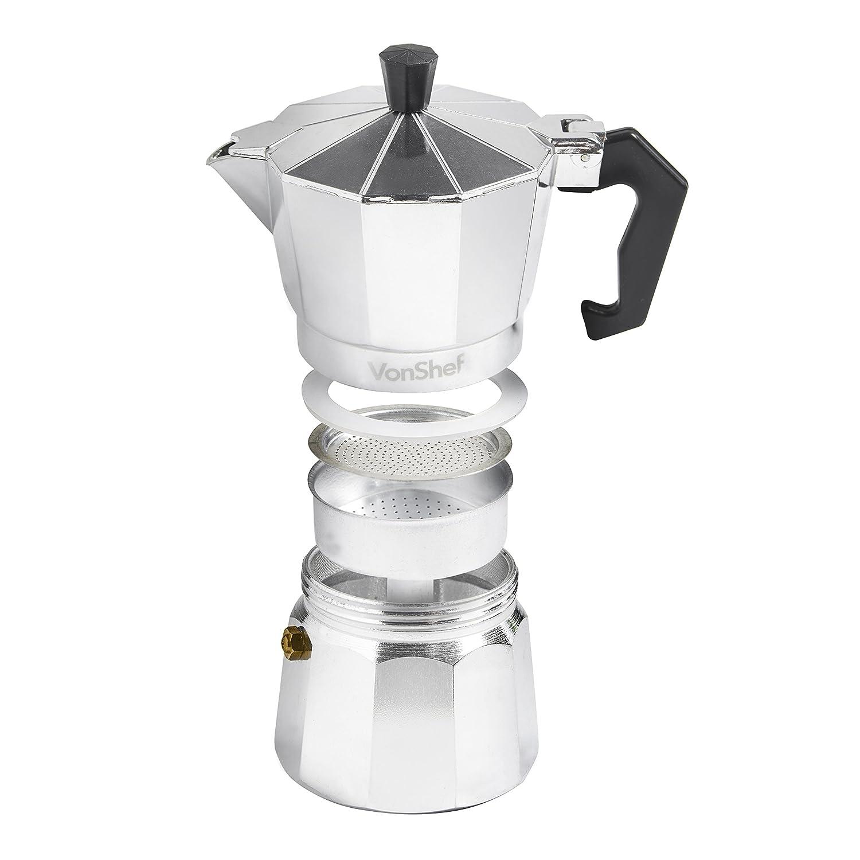 Vonshef 3 Cup150Ml Italian Espresso Coffee Maker Moka Stove Top