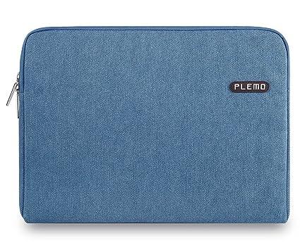 PLEMO Fundas para Portatil Tela Vaquera Funda Bolso Sleeve para Ordenador Portátil / MacBook / MacBook Pro / MacBook Air de 13-13,3 Pulgadas, Azul ...