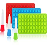 Silicone Gummy Bears Candy Molds Chocolate Molds 50 Cavities with Bonus Dropper, FDA Approved 3 Pack (Blue, Green, Red)