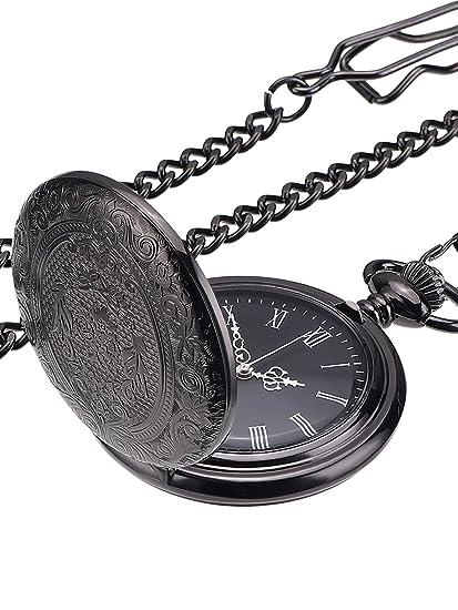 Reloj de Bolsillo Negro Clásico para Hombres Reloj con Cadena y Agujas Plateadas: Amazon.es: Relojes