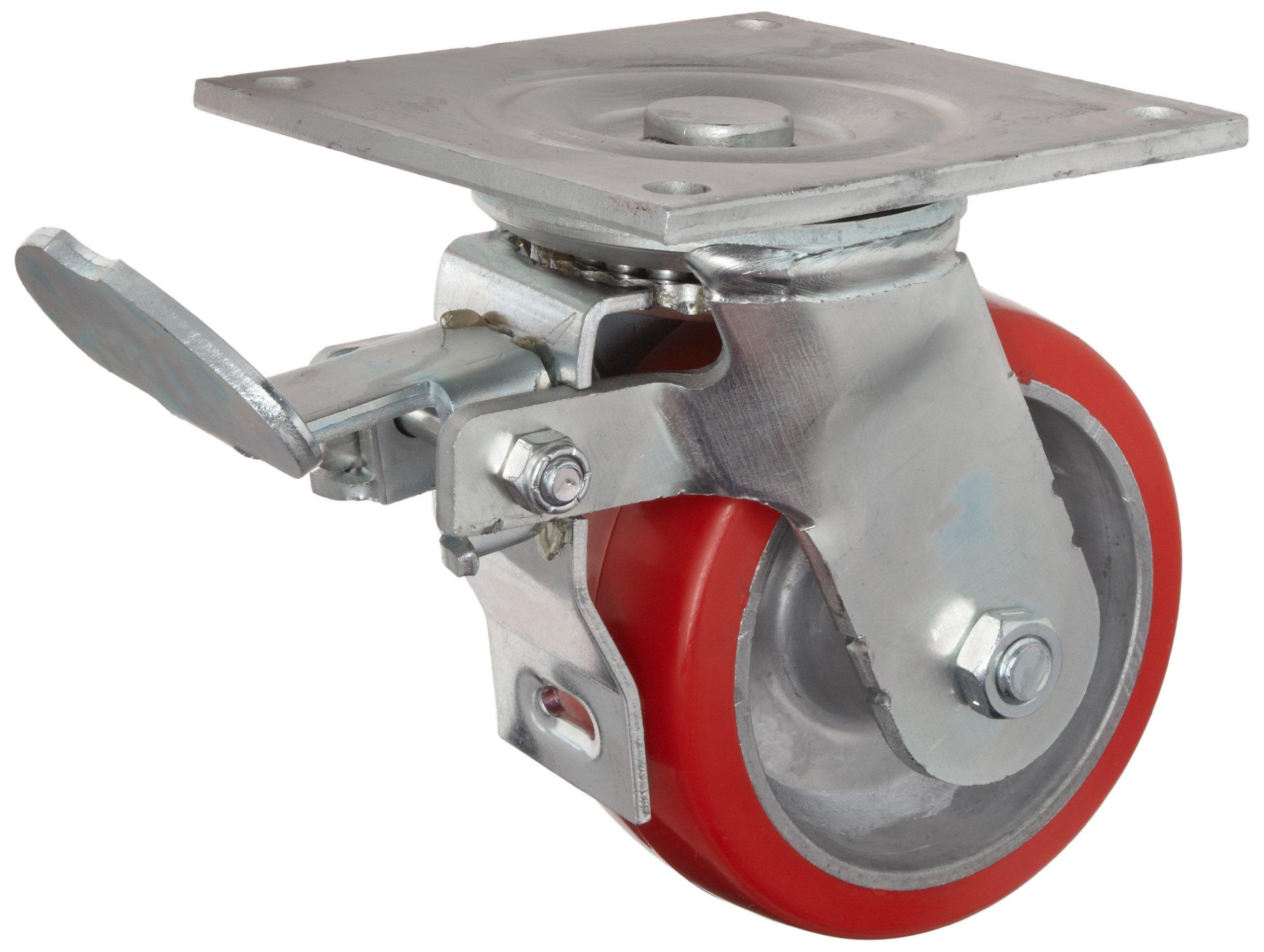 E.R. Wagner Plate Caster, Swivel with Total-Lock Brake, Polyurethane on Aluminum Wheel, Roller Bearing, 1200 lbs Capacity, 6'' Wheel Dia, 2'' Wheel Width, 7-1/2'' Mount Height, 4-1/2'' Plate Length, 4'' Plate Width