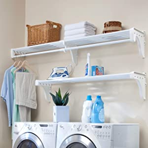 EZ Shelf - Large Expandable Laundry Room Organizer, up to 20 ft of Laundry Room Storage and 10 ft of Laundry Room Shelves(with Hanging Rod), White