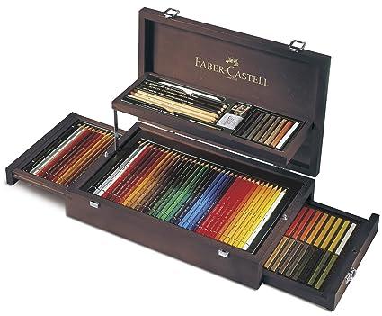 Faber-Castell 110086 - Estuche de madera de 108 piezas con equipo básico de las 3 gamas, ecolápices polychromos, tizas, grfitos y accesorios