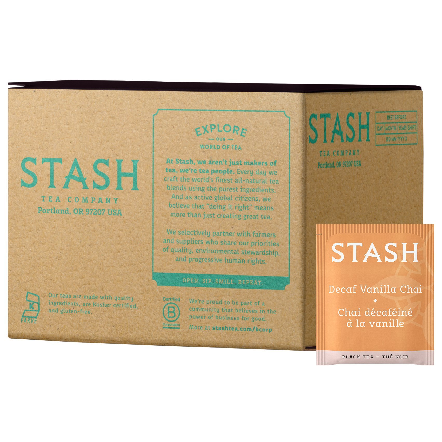 Stash Tea Decaf Vanilla Chai Black Tea 100 Count Box of Tea Bags in Foil (packaging may vary) Individual Decaffeinated Black Tea Bags for Use in Teapots Mugs or Cups, Brew Hot Tea or Iced Tea by Stash