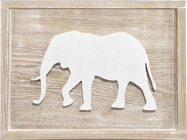 Bon et Beau 16×12 Inch Wood Cut-Out Elephant Wall Décor - Neutral Wall Art for Baby Girl Baby Boy Nursery, Kids Room, Playroom Decor