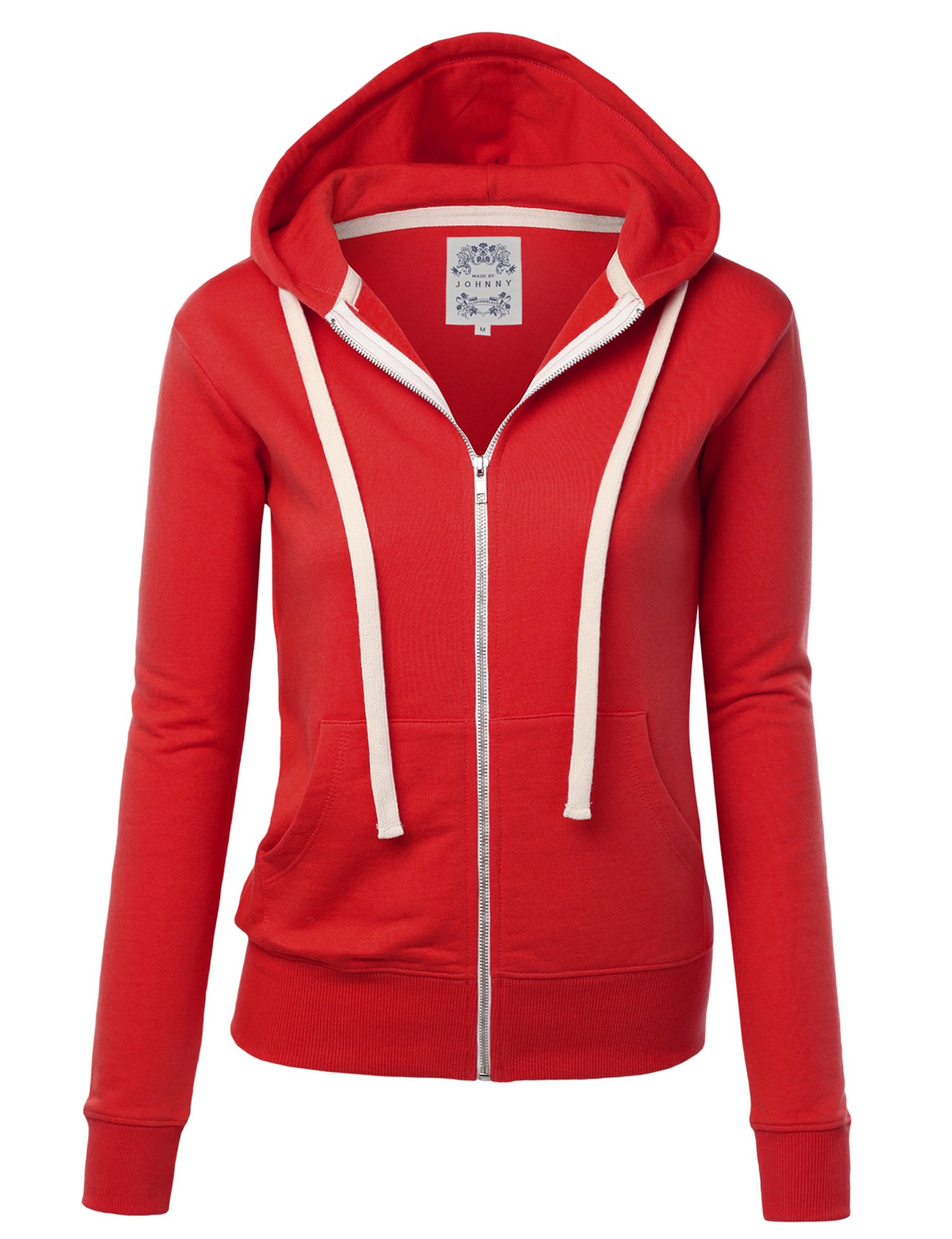 Made By Johnny WSK954 Womens Active Fleece Zip up Hoodie Sweater Jacket S RED