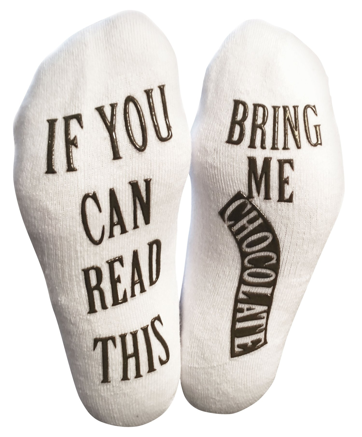 """If You Can Read This Bring Me Chocolate"" Luxury Cotton Novelty Socks - Perfect Gift Idea for Chocolate Lovers, Funny Gag Gift for Wife, Husband and Kids - Best White Elephant Present"