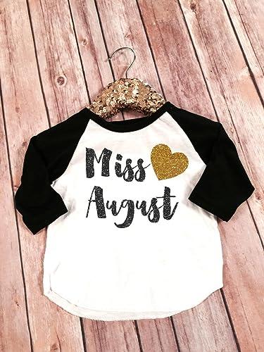 Amazon Miss August Shirt Raglan Birthday Baseball Tee Girl Top Bday