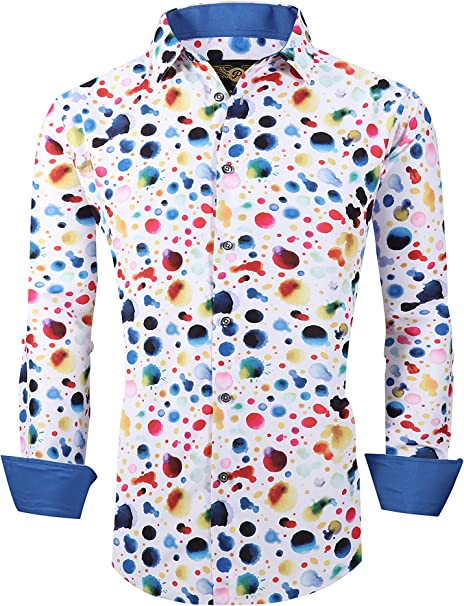 SELX Men Shirts Flower Print Long Sleeve Loose Casual Button Down Dress Shirt Top