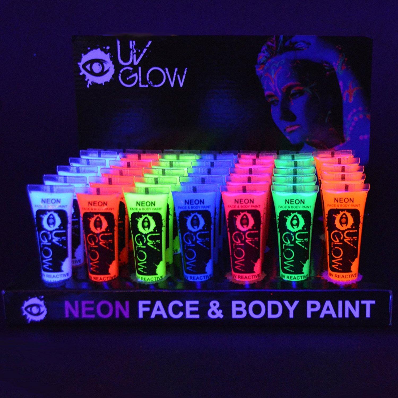 Pintura Corporal y Facial 10ml UV GLOW Conjunto De 24 Tubos Neón Fluorescente incandescente U24