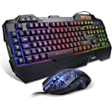 HAVIT Tastiera e Mouse da Gioco Filo, Tastiera e Mouse Impostati con Luce LED, 4 Livelli DPI (800-1200-2400-3200), 5 Tasti Multimediali e 19 Tasti Anti-ghosting, 7 Diversi Colori (Layout UK)