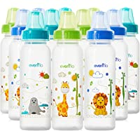 Evenflo Feeding Classic Prints Polypropylene Bottles for Baby, Infant and Newborn - Blue/Green/Orange, 8 Ounce (Pack of…