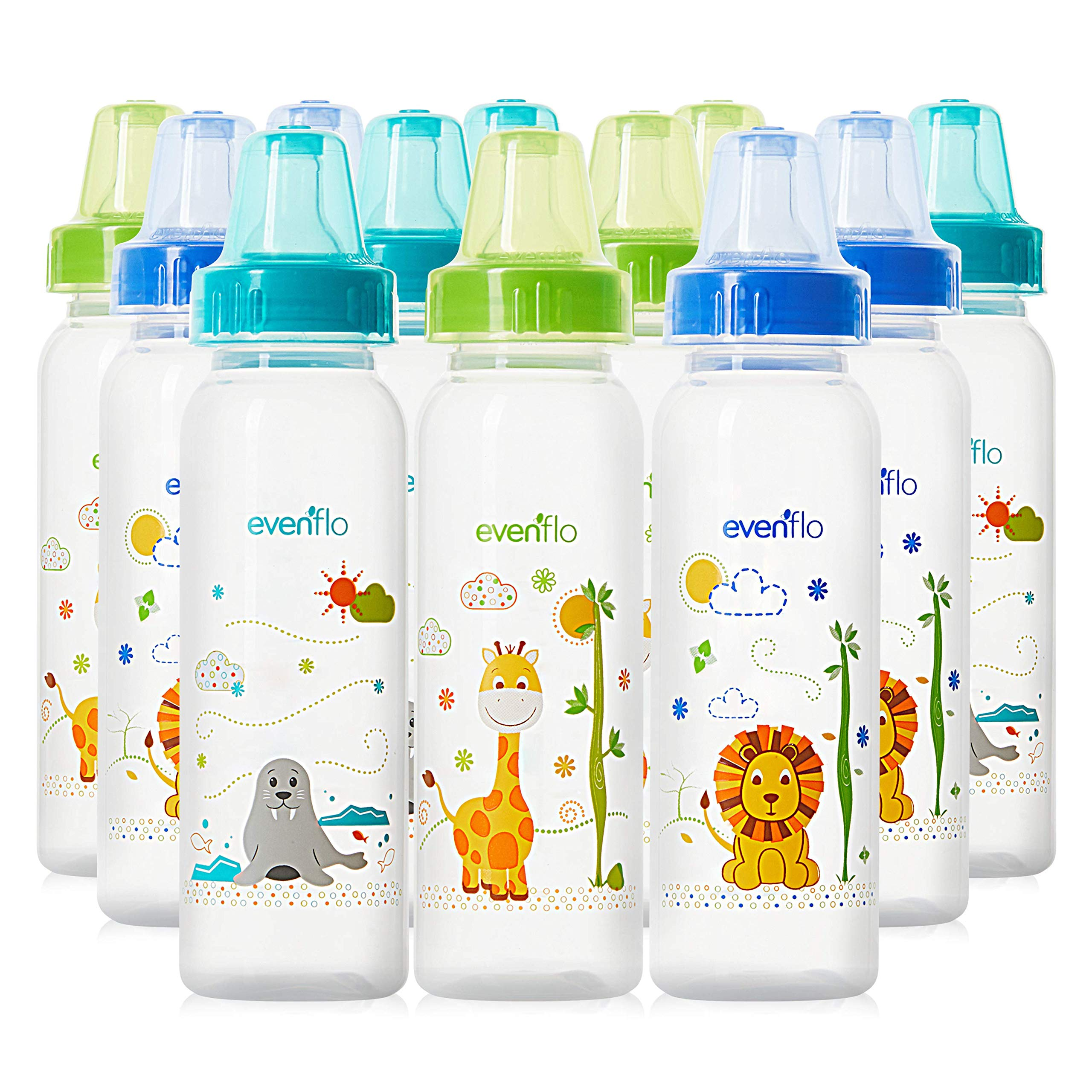 Evenflo Feeding Zoo Friends Polypropylene Bottles for Baby, Infant and Newborn - Blue/Green/Orange, 8 Ounce (Pack of 12) by Evenflo Feeding