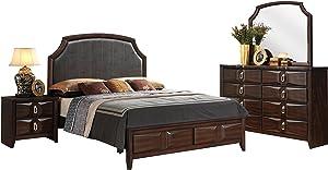 Acme Furniture Lancaster Eastern King 4-Piece Bedroom Set, Espresso PU & Espresso