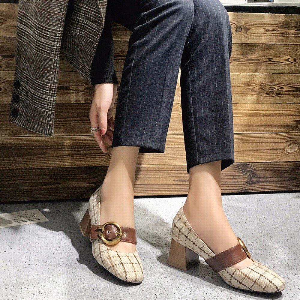 DIDIDD Frühling Einzelne Schuhe, Flache Retro Mary Jane Schuhe mit Hohen Hohen mit Absätzen, Frauen Erste Wort Schnalle Oma Schuhe,Polieren,39 - ab4abf