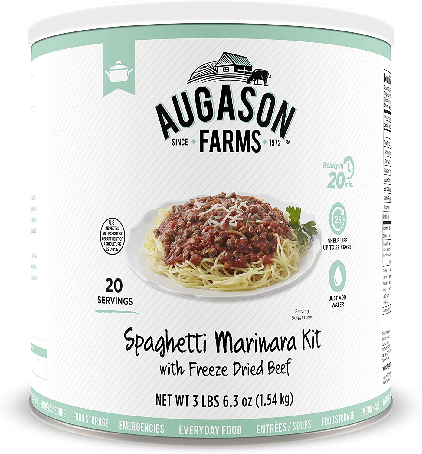 Augason Farms 5-00275 Spaghetti Marinara with 100% Real Freeze-Dried Beef Long-Term Food Storage Everyday Meal Prep Large Can, 48 oz