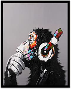 Modern Pop Art Decor - Framed - Thinking Monkey With Headphones Canvas Print Home Decor Wall Art, Black Real Wood Frame, 24x30