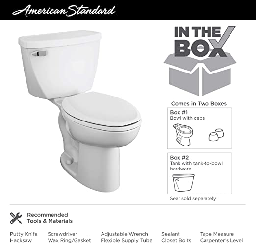 American Standard 2467.164.020 Cadet Right Height Elongated Pressure Assisted Two Piece Toilet with Bedpan Slots White