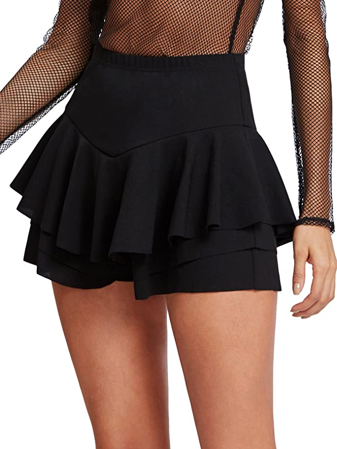 529458d47 WDIRA Women's Mid Waist Flounce Pleated Shorts Ruffle Layered Basic Mini  Skirt Short at Amazon Women's Clothing store: