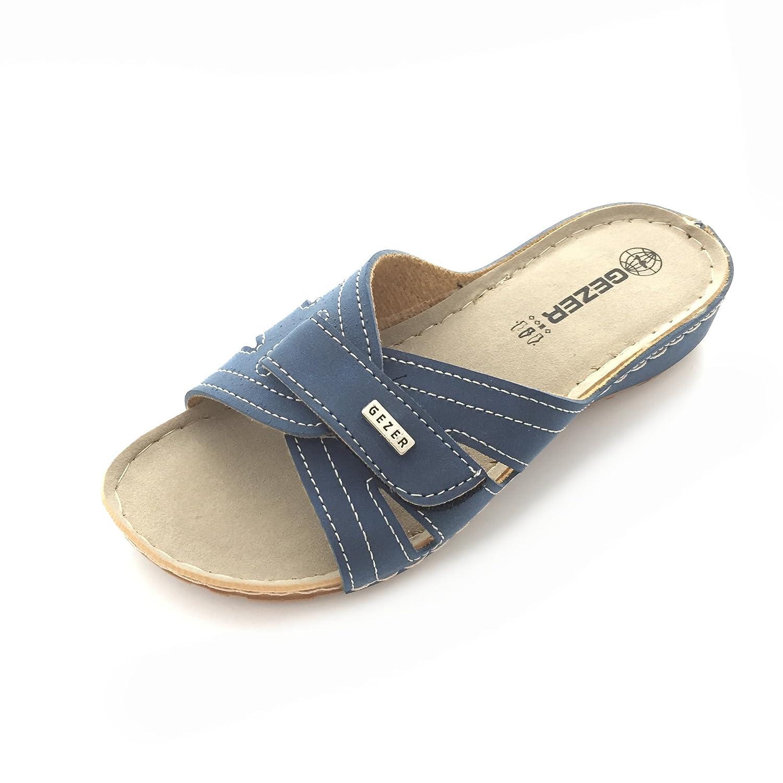 Gezer Damen Pantolette Sandale Slipper Zehentrenner Schuhe Gr. 36-40 Neu Blau