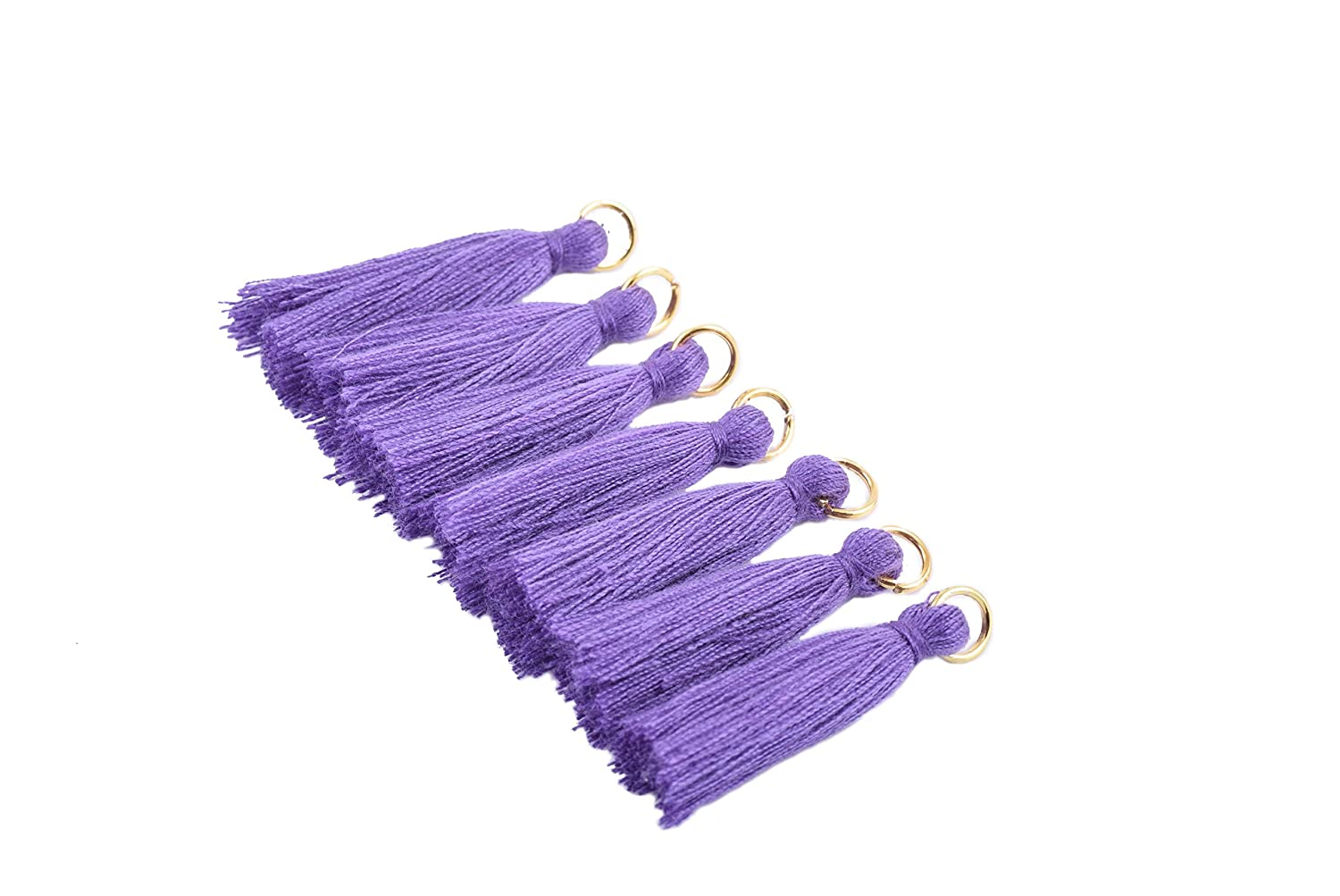 Soft Handmade Silky Tiny Craft Tassels With Golden Jump Ring for DIY Projects Peach 3.5cm KONMAY 50PCS 1.4
