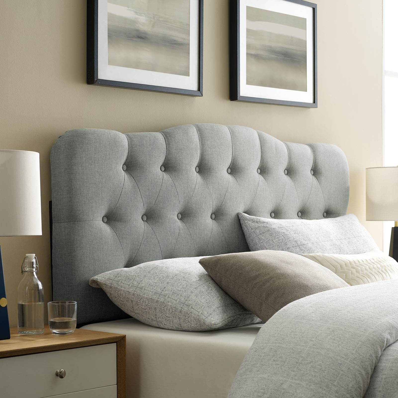 Modway Annabel Tufted Button Linen Fabric Upholstered Queen Headboard in Gray by Modway