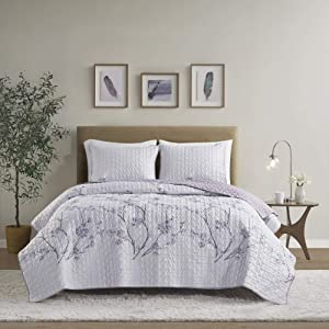 Comfort Spaces Reversible Quilt Set-Double Sided Vermicelli Stitching Design All Season, Lightweight, Coverlet Bedspread Bedding, Matching Shams, Full/Queen(90