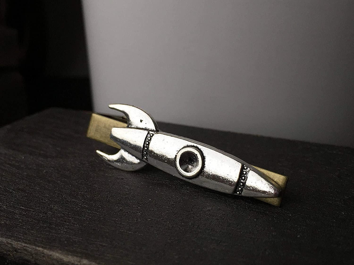 Silver Rocket Tie Clip by Arcanum By Aerrowae - Tie Bar Gifts for Silver Tie Clip Space Gift for Dad