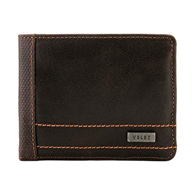 Velez Mens Genuine Soft Columbian Leather Bifold Wallet Set Slimfold Credit Card Holder | Carteras y
