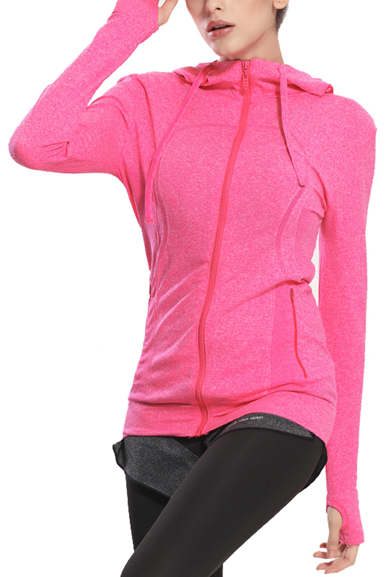 HIYAGO Girls'and Teenagers' Activewear Slim Hoodie with Thumb Hole(Fit for:70-100lbs)