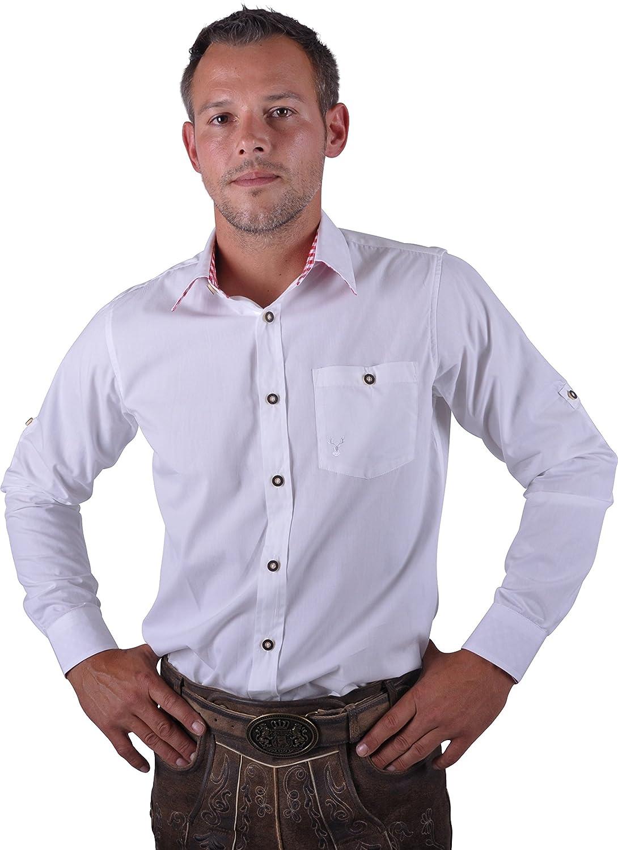 Almwerk Herren Trachten Hemd weiß Modell Ottmar 100% Baumwolle kariert an Ärmel und Kragen in Rot, Grün, Schwarz, Blau, Braun und Schwarz