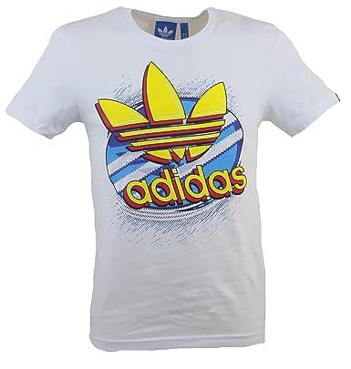 adidas Para Hombre Pop Logo Original T-Camiseta de Manga Corta Camiseta de Manga Corta - de Color Blanco Azul y Amarillo: Amazon.es: Ropa y accesorios