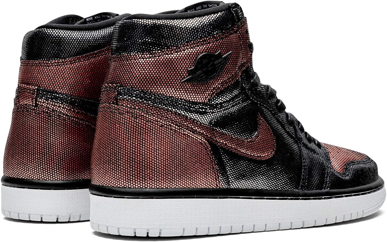 Amazon Com Jordan W Air 1 Hi Og Black Black Mtlc Rose Gold Basketball