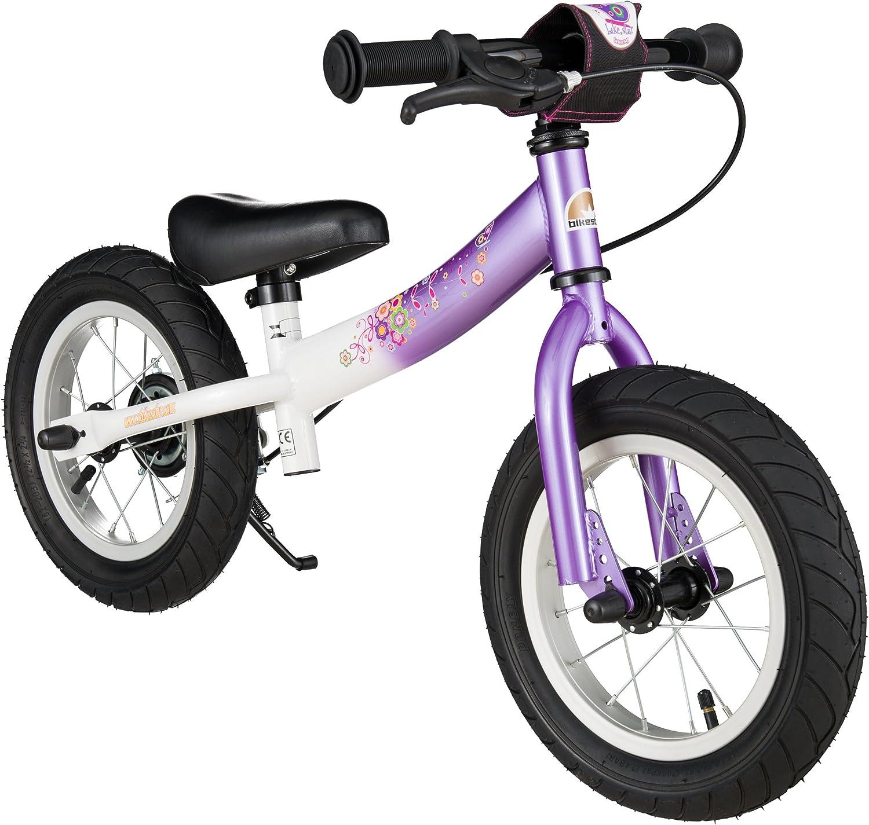 BIKESTAR - Bicicleta de Equilibrio para niños de 3 años de Edad con Lateral y Freno para niños de 12 Pulgadas, edición Deportiva, Color Morado y Blanco