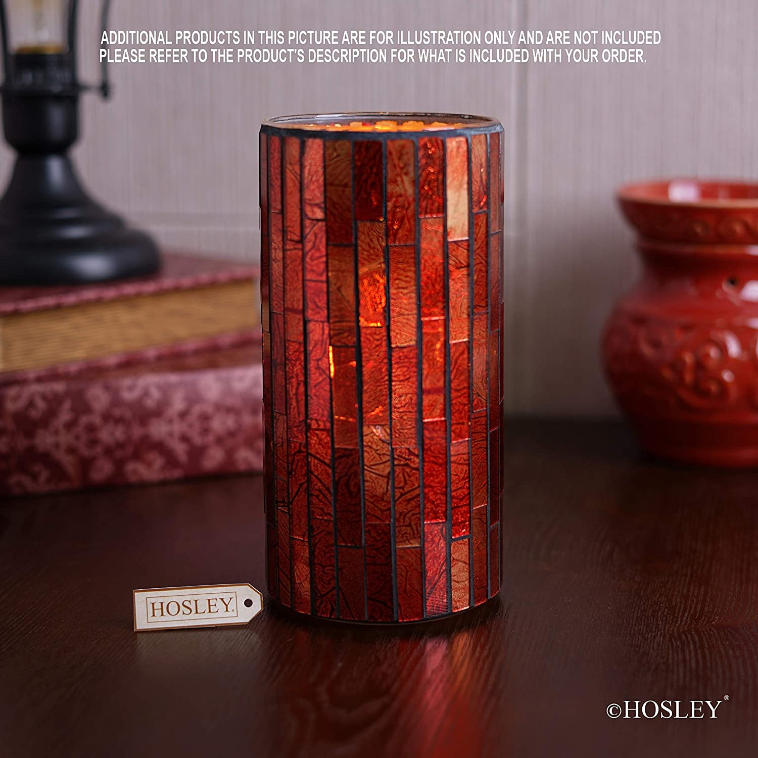 Hosley Mosaic Glass Tea Light Candle Holder Your Choice of Colors and Size Ideal Gift for Wedding Party Favor Spa Home Bridal Reiki Meditation O7 A-Red, 3.5 High