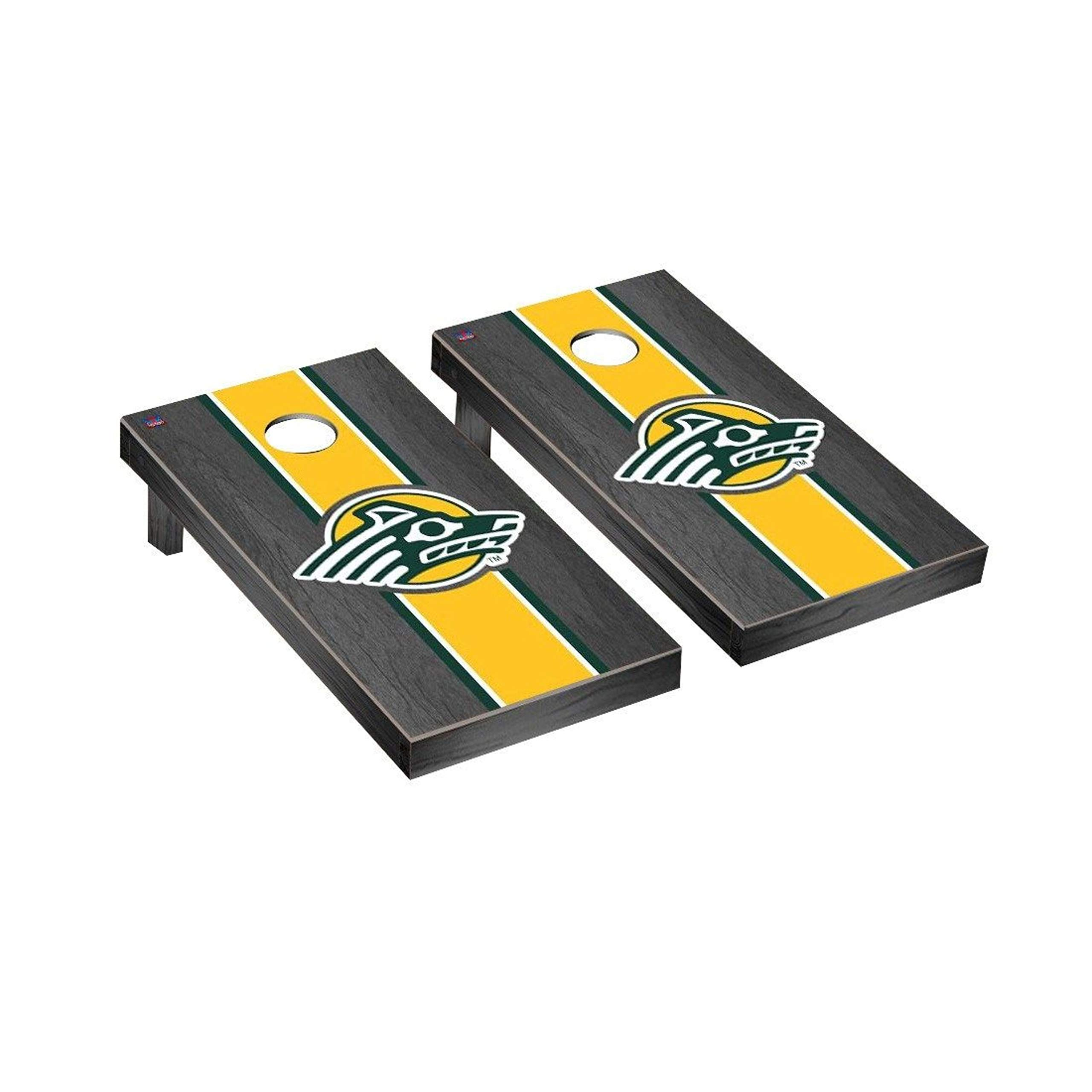 Victory Tailgate Regulation Collegiate NCAA Onyx Stained Stripe Series Cornhole Board Set - 2 Boards, 8 Bags - Alaska Anchorage Seawolves