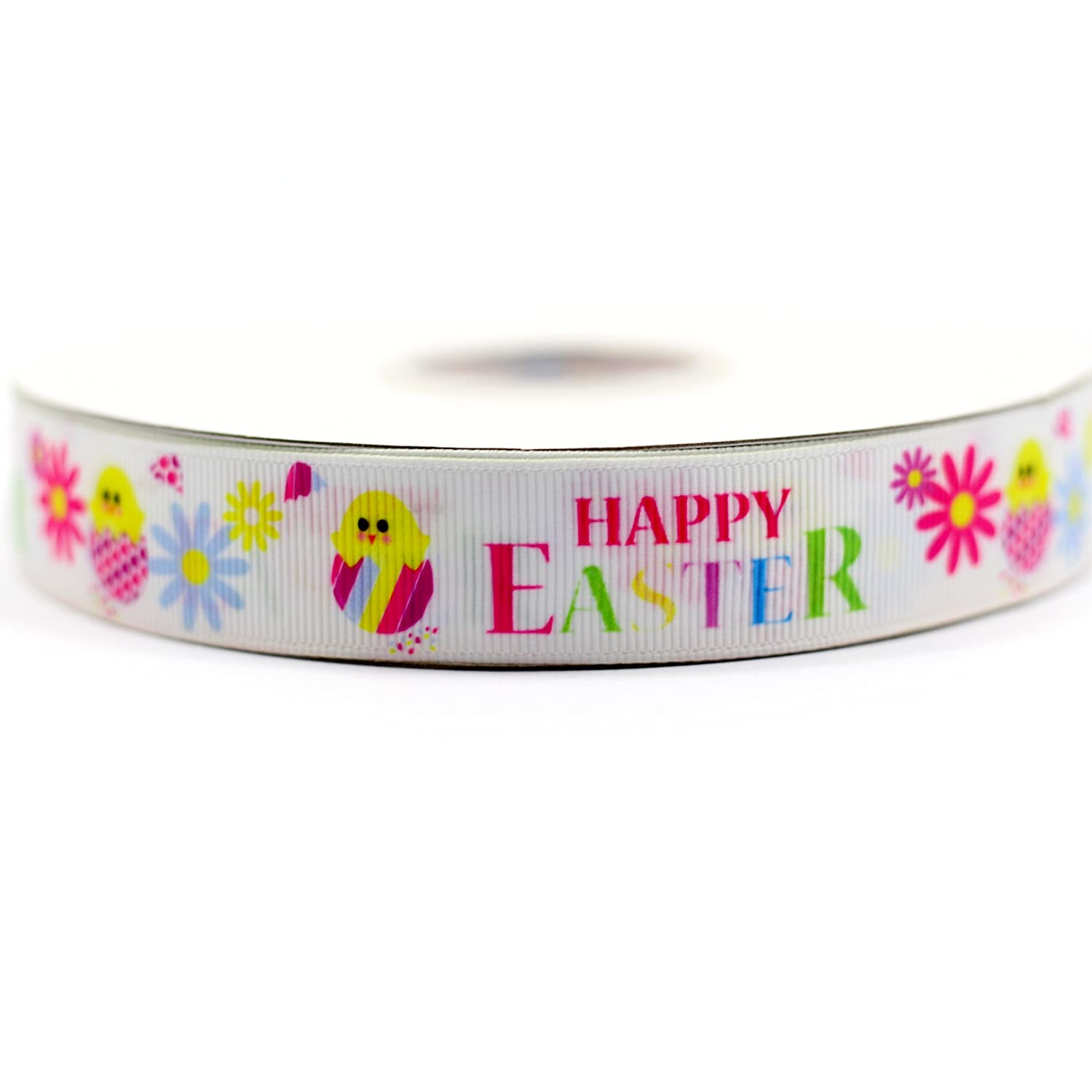 """Grosgrain Happy Easter with Easter Eggs Easter Bunny Ribbon 7//8/"""" 22mm"""