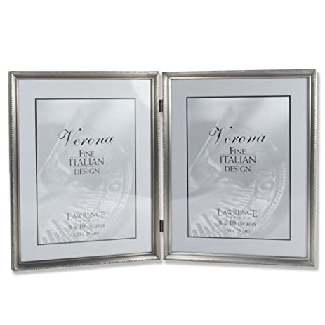 lawrence frames antique pewter 8x10 hinged double picture frame bead border design - Double 8x10 Picture Frame